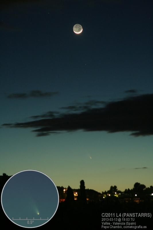 El cometa C/2011 L4 (PANSTARRS) a simple vista al anochecer