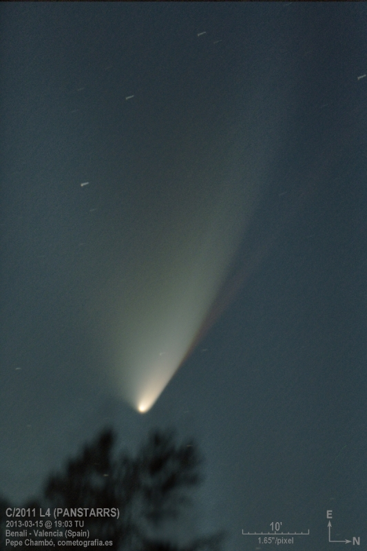 La cola roja del cometa Panstarrs