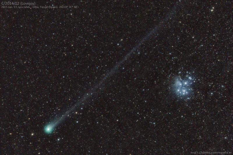 El cometa Lovejoy y las Pléyades