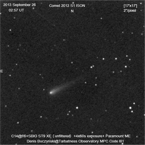 Imagen del cometa C/2012 S1 (ISON) obtenida el 26 de Septiembre de 2013, desde (). Foto: © Denis Buczynski*