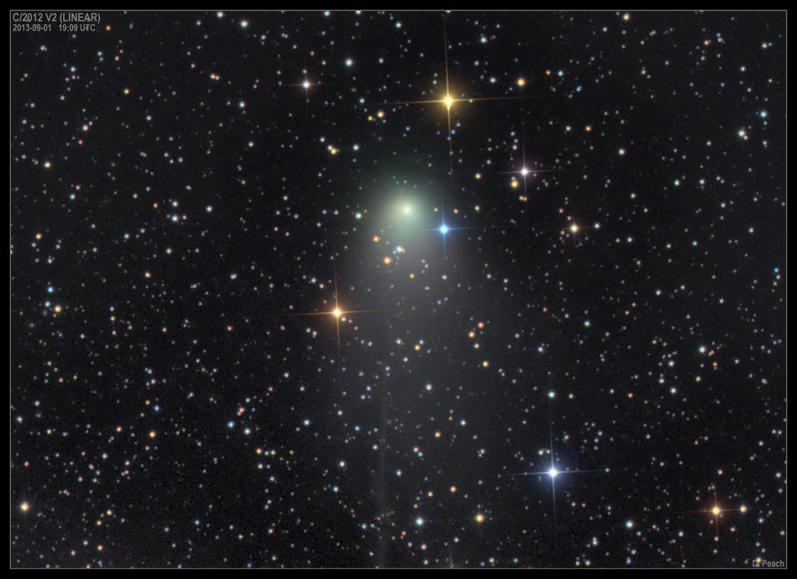Imagen del cometa C/2012 V2 (LINEAR) obtenida el 31 de Agosto de 2013 desde Siding Spring (Australia).Foto: © Damian Peach*
