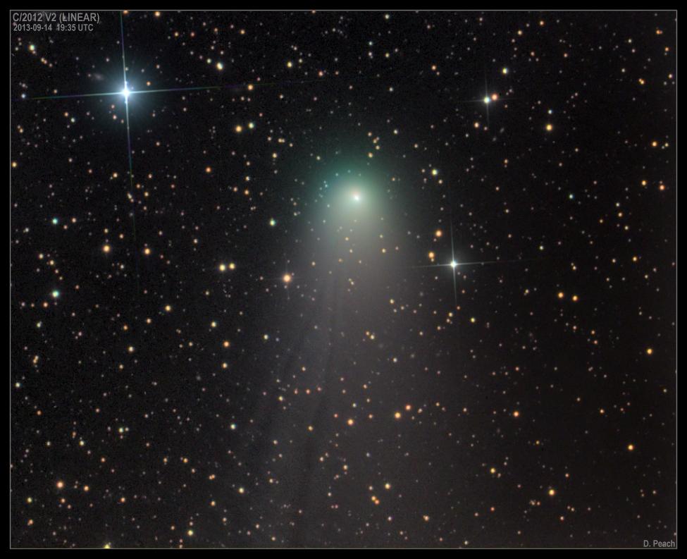 Imagen del cometa C/2012 V2 (LINEAR) obtenida el 14 de Septiembre de 2013 desde Siding Spring (Australia). Foto: © Damian Peach*