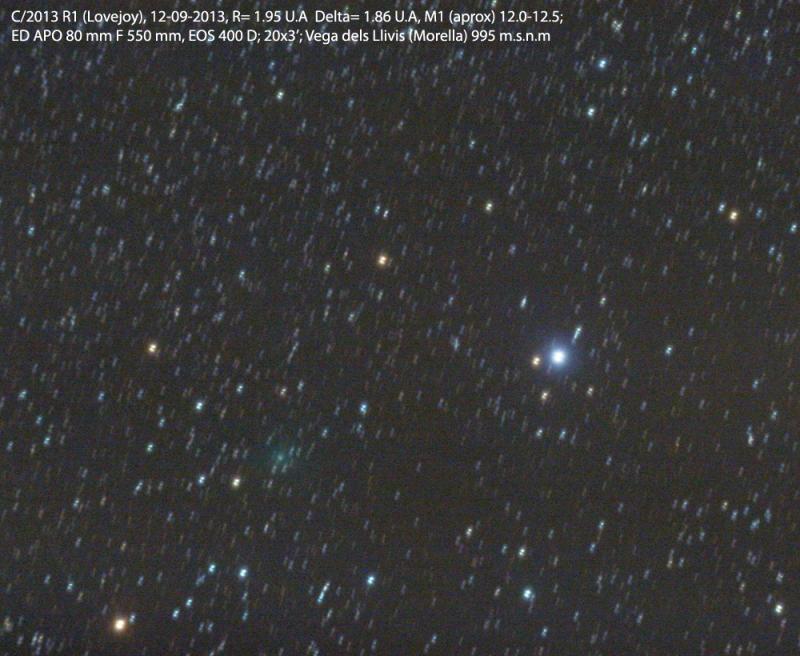 Imagen del cometa C/2013 R1 Lovejoy obtenida el 12 de Septiembre de 2013 desde Morella, Castelló (España). Foto: © Dídac Mesa*