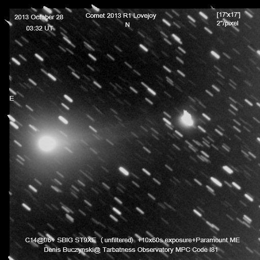 Imagen del cometa C/2013 R1 (Lovejoy) obtenida el 28 de Octubre de 2013, desde Portmahomack, Ross-Shire (Escocia). Foto: © Denis Buczynski*