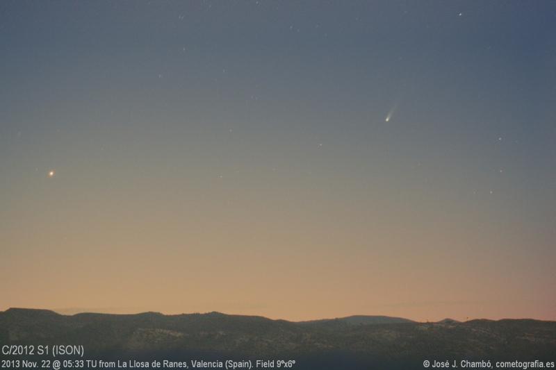 El cometa ISON sobre la Serra Grossa