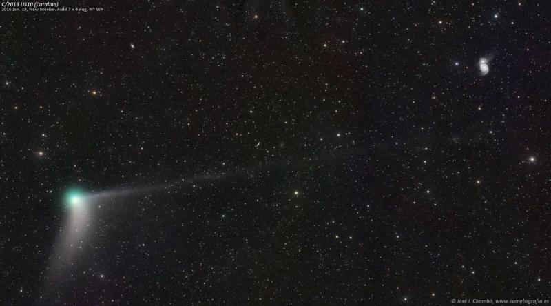 Cometa Catalina y Galaxia Remolino
