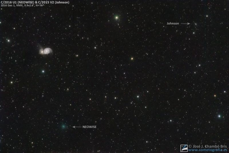Cometas NEOWISE y Johnson en conjunción (NASA-APOD)