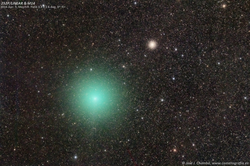 Cometa 252P y M14 sobre la Vía Láctea (NASA-APOD)