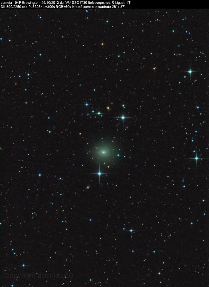 Imagen del cometa 154P/Brewington obtenida el 26 de Octubre de 2013 desde Siding Spring (Australia). Foto: Rolando Ligustri*