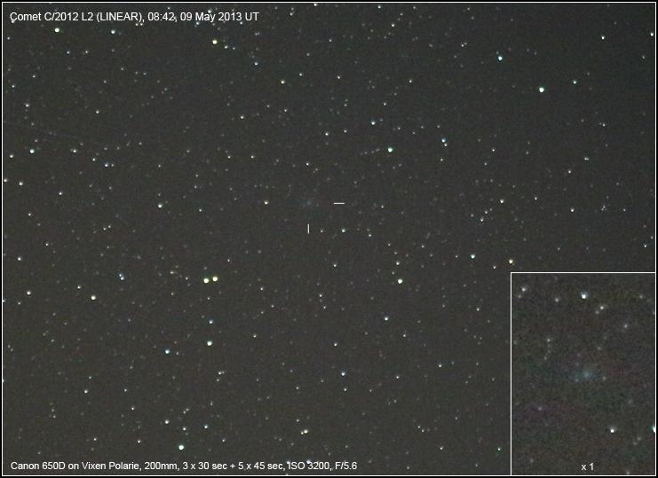 Imagen del cometa C/2012 L2 (LINEAR) obtenida el 9 de Mayo de 2013 desde Bright, Victoria (Australia). Foto: Rob Kaufman*