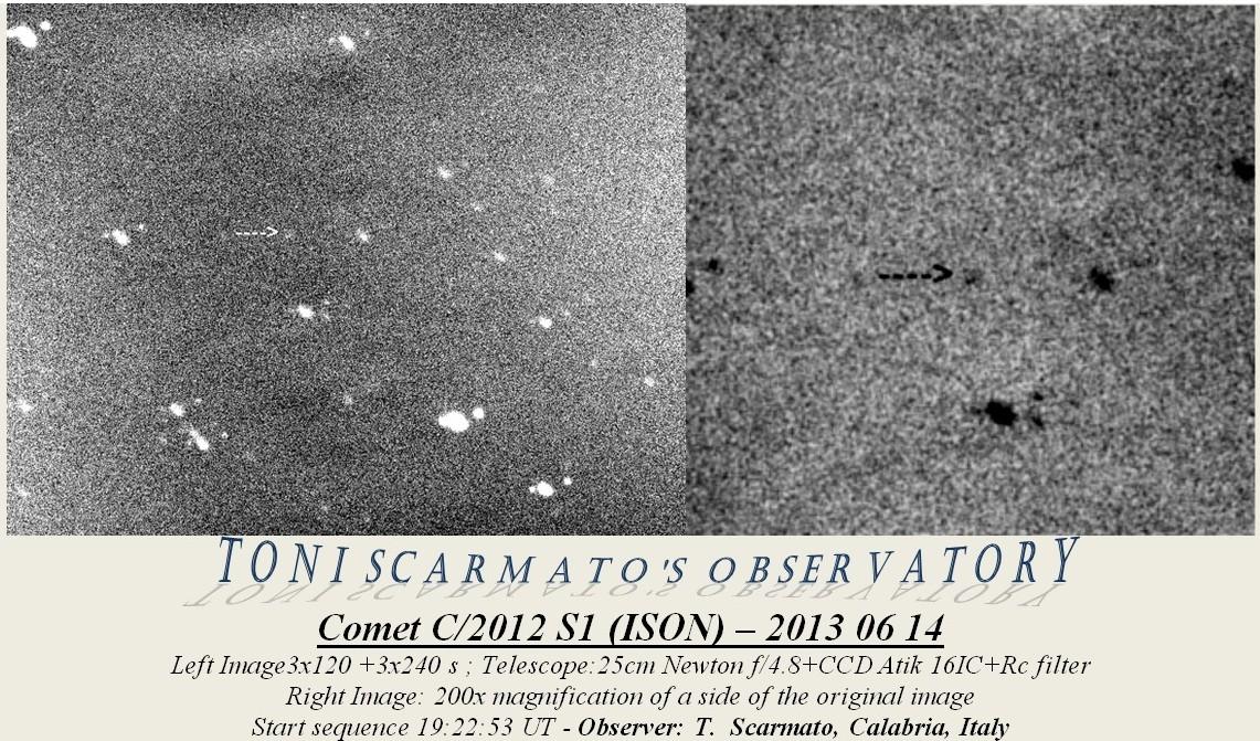 Imagen del cometa C/2012 S1 (ISON) obtenida el 16 de Junio de 2013 desde [Localidad], Calabria (Italia). Foto: Toni Scarmato*.