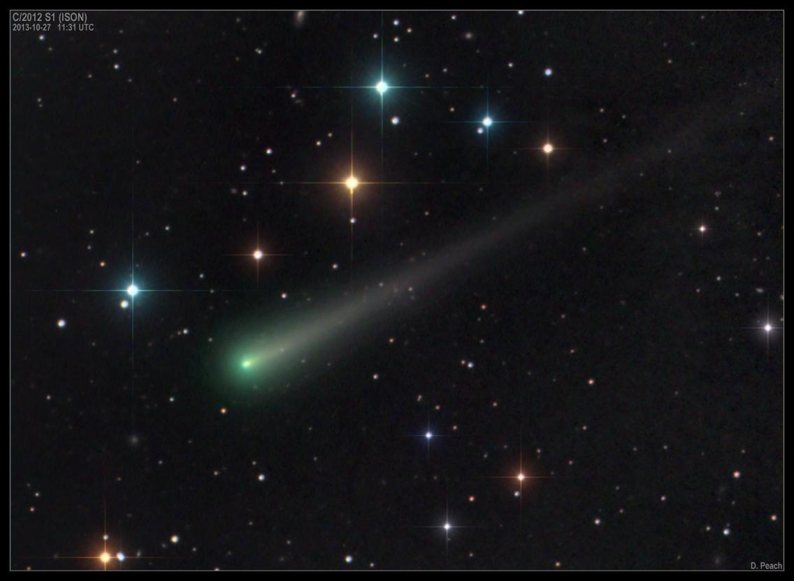Imagen del cometa C/2012 S1 (ISON) obtenida el 27 de Octubre de 2013. Foto: © Damian Peach*