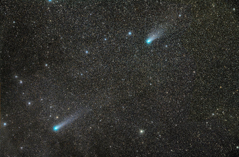 Cometa C/2013 R1 Lovejoy (izquierda) y el C/2012 X1 LINEAR (derecha)